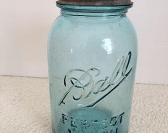 Vintage 1910-1923 Ball Perfect Mason Jar # 3 Quart Size Zinc Lid Aqua..