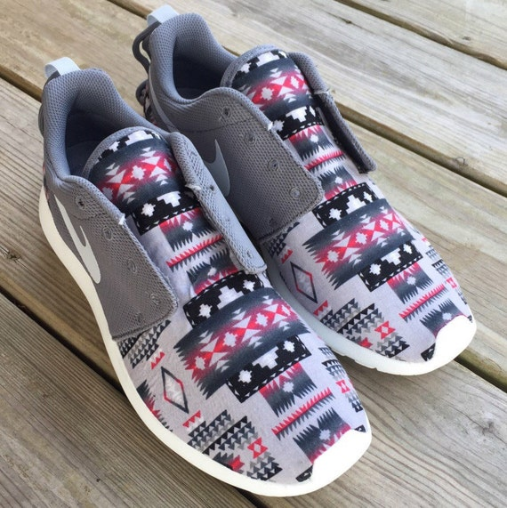cheap for discount fca06 61b14 free shipping Womens Tribal Aztec Gray Nike Roshe Run by ShoeniversalCustoms