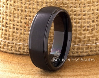 Black Tungsten Ring,Stepped,Dome,8mm,Tungsten Band,Mens,Womens,Tungsten Ring,Anniversary Ring,Black Wedding Ring,Black Tungsten,Comfort Fit