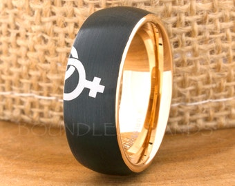 Tungsten Ring Tungsten Wedding Ring Tungsten Interlocking Puzzle Same Sex Marriage Matching Ring Set Couple Venus Female Lesbian Pride Ring