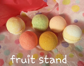 6 pack. Bath Bombs. FRUIT STAND COLLECTION