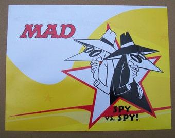 Vintage MAD Magazine Spy vs Spy Poster Card - 8 x 11