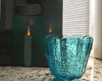 Vintage Ruffled Top Turquoise Blue Glass Grape Deco Compote to compliment your MASON JARS/JAR Wedding Shower / Kitchen / sewing Storage!!