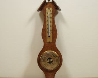 Vintage 1970s Era Wood Framed Mini Banjo Style Thermometer / Barometer Weather Station Wall Decor