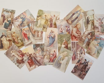 Set of 24 Vintage HOLY CARDS Saints, Jesus, Blessed Virgin Mary.  Catholic Religious Pictures 1940
