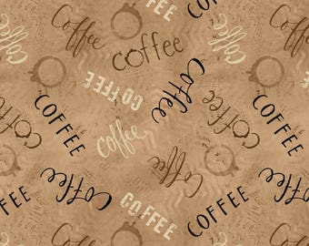 But First, Coffee! / Coffee Quilt Fabric / Coffee on Cream / Wilmington Prints 54525 / Fat Quarters and Yardage