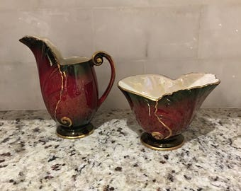 Carlton Ware Rouge Royal Creamer and Open Sugar Bowl , Made in England Hand Painted