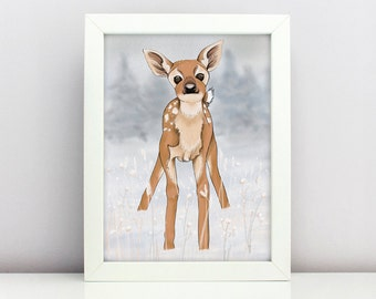Baby Deer Christmas Printable Greeting Card Poster Forest Animal Stag Hart Printable Wall Art Nursery Deer Poster Winter Scene Baby Animal