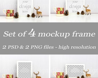 Set Styled Stock Photography Christmas Deer & Mug Mockup Download Frame Bundle Empty Frame Product Digital Background Smart Object