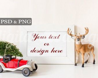 Red Vintage Car Styled Stock Photography Christmas Tree Deer Horizontal Mockup Download Frame Empty  Product Digital Background
