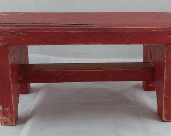 Adorable Vintage Wooden Red Bench for Dolls or Bears