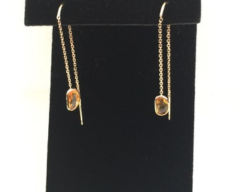 14k solid yellow gold and genuine sapphire thread earrings, threader earrings , rose cut sapphire