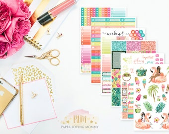 Resort Getaway Weekly Kit | Planner Stickers designed for use with the Erin Condren Life Planner