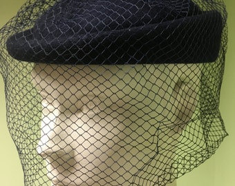 Vintage Blue Wool Hat with Netting
