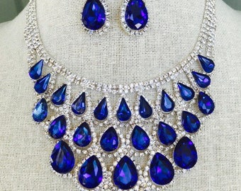 Fabulous Royal Sapphire Blue and Clear Rhinestone Statement Bib Necklace and Dangle Earring Set...Wedding / Pageant / Evening / Prom