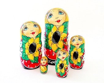 Nesting dolls Sunflowers,  wooden russian matryoshka doll