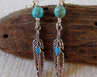 Turquoise Feather Earrings, Turquoise Gemstone Earrings, Feather Earrings, Boho Earrings, Silver Turquoise Earrings, Bohemian Jewelry