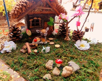 Fairy House,Fairy Garden Decor,Pinecone Roof House, Natural decoration,Fairues, deer figurine,baby deer,fairy accent,fairy furniture, gift