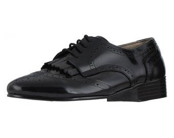 Men's Medallion Lace-up Oxford Loafers Slip-on HSB-3356 black
