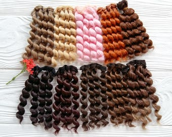 15 cm (6 inches). Hair for dolls. Curly hair. Synthetical hair. Luxury hair. Hair for doll wigs. Blythe doll hair. Synthetic doll hair