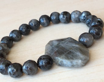 Piece of Labradorite,Faceted Nugget Bead,Labradorite Bracelet,Faceted Gemstone Nugget,Large Stone Serenity,Protective Bracelet,Gift Mother's