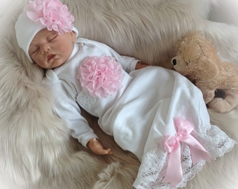 Newborn Girl Coming Home Outfit, Newborn Girl Gown, White and Pink Coming Home Outfit, Baby Girl Take Home Outfit, Newborn Girl Layette