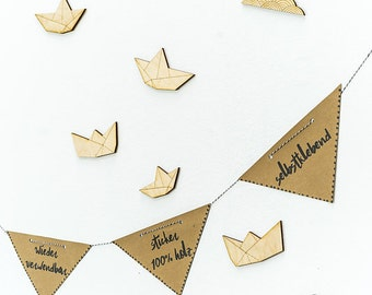 Wooden wall decal - Origami Paper Boats