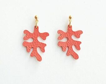 Earrings Coral, handmade leather earrings