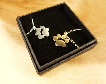 Paw Necklace, Paw Print Pendant, Gift for Animal Lover, Dog Paw, Cat Paw