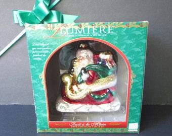 "Lumiere Large Santa's Sleigh Glass Ornament/ 1990s Blown Glass Santa Claus, Limited Edition Christmas Tree Ornament in original Box/ 4.5"" W"
