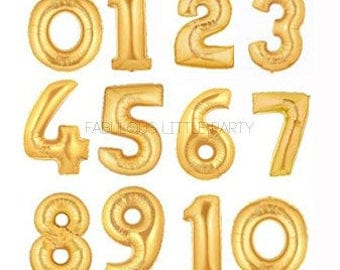 """HUGE Number Balloon 40"""" Mylar Foil Helium Balloon, First Birthday Decorations, Gold Photo Props, Anniversary Party Banner 16, 18, 20, 21, 25"""