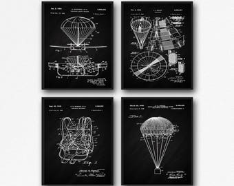 Parachute Set of 4 Parachute Patent Posters Skydiving Poster Set Sports Poster Set of Sports Prints Flying Posters Flying Prints