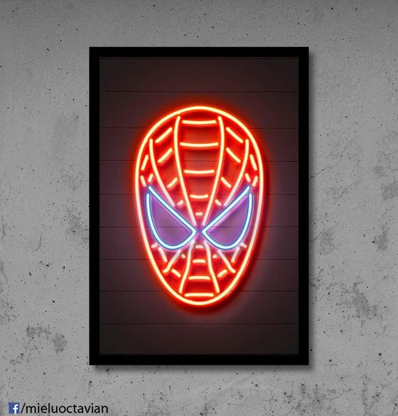 Spiderman Wall Art Spiderman Nursery Spiderman Neon Superhero