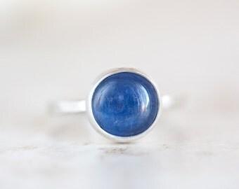 Kyanite Ring, Blue Kyanite Ring, Round Kyanite Silver Ring