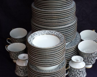 REDUCED! Complete set Sango SPANISH LACE China for  10 people, 7 pieces/setting. Creamy White China with Bl & Wh Pattern, Gold Rim