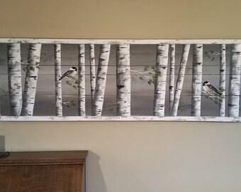 Pallet art, white birch greenery,  White Birch reclaimed wood, Long  Horizontal mural Art, Aspen trees, Hand painted chickadee, Distressed