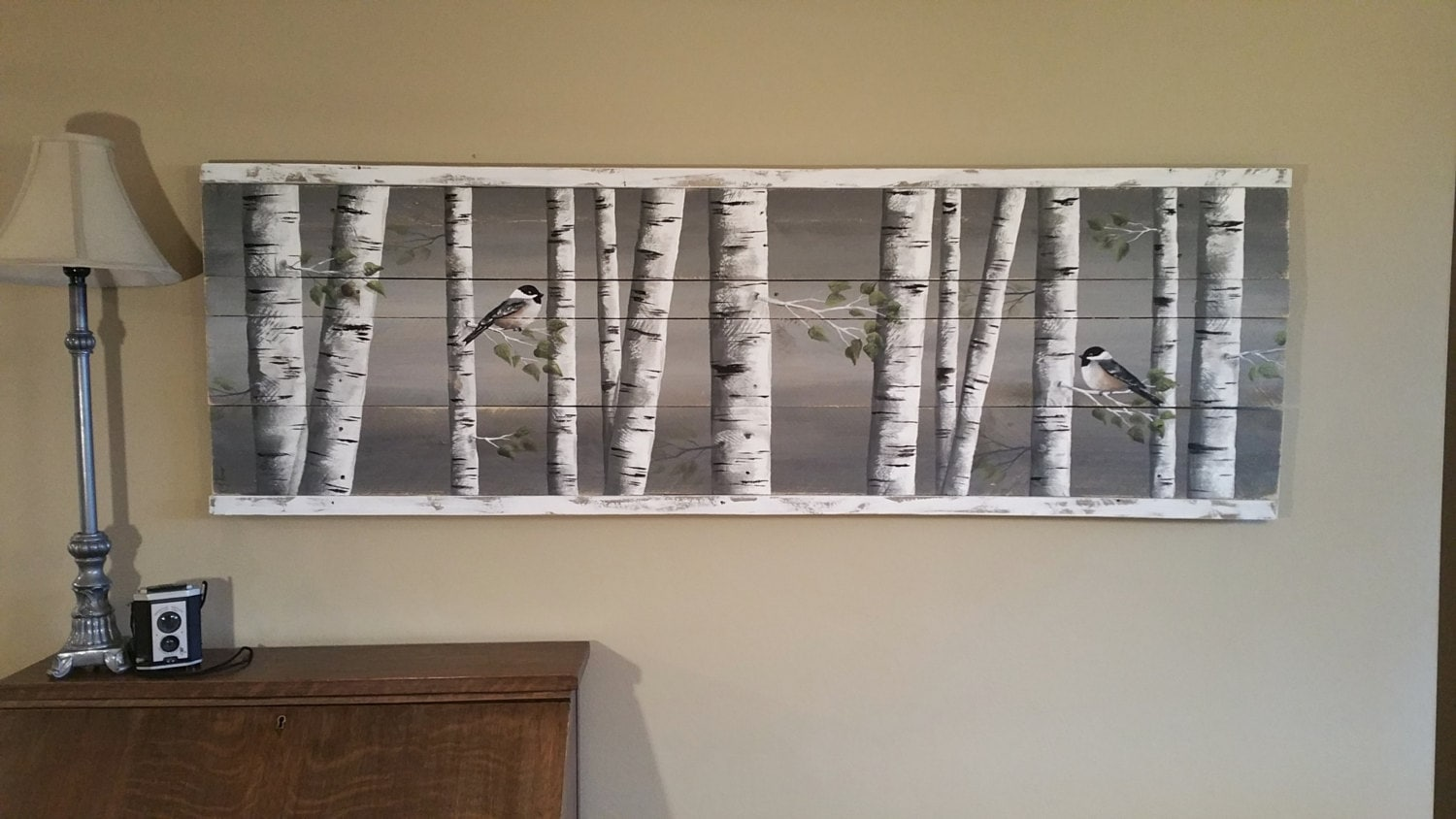 pallet art white birch greenery white birch reclaimed wood zoom