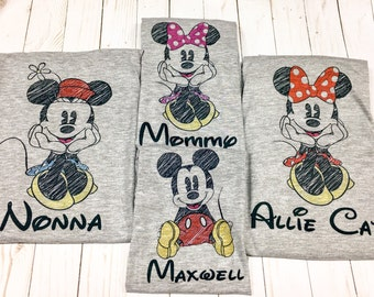 Disney family shirt, Disney shirts, Mickey sketch, family Disney shirt, disney family shirts, personalized, Mickey scribble, mickey sketch