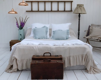 Ruffled Linen Duvet Cover, Linen Bedding - 100% Stonewashed Linen, Gorgeous Shabby Chic!