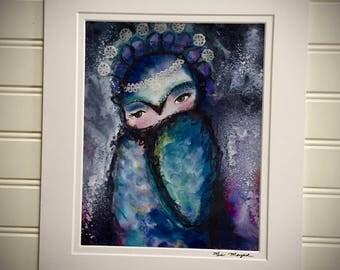 Original art print, mixed media - Owl Royalty