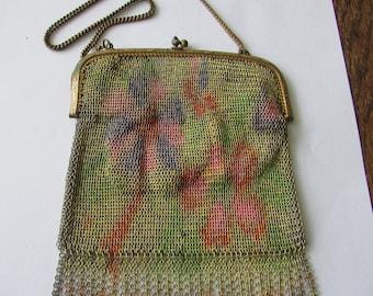 Vintage Mesh Evening Bag Germany Multicolor Chain Purse Handbag