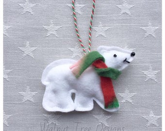 Felt Polar Bear, Christmas Decoration, felt decoration, Christmas felt decoration, Christmas tree decoration