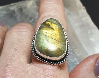 Labradorite Statement Ring - Size 8