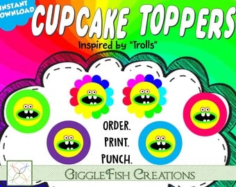 Trolls Flower Cupcake Toppers | Digital File | Instant Download