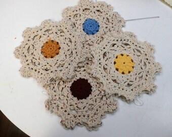 Handmade set of 2 Ecru Crochet Snowflake Trivet Potholder with Colored Flower Center