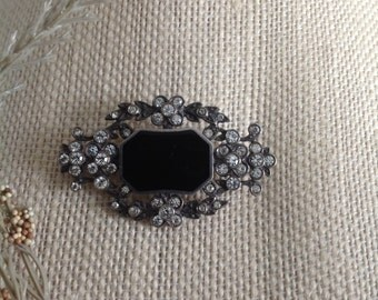 STERLING 925 Black ONYX Rhinestone Brooch | Victorian Style Pin