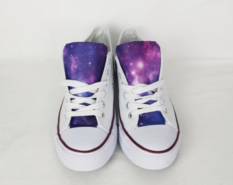 Galaxy shoes, purple galaxy shoes, custom converse style, white purple nebula pumps,custom plimsolls, women trainers.goth boho rockabilly