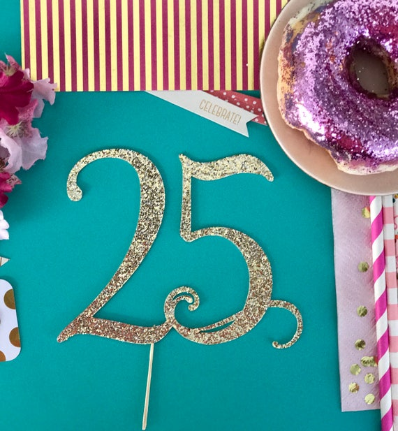 25th birthday party ideas number 25 cake topper for Glitter numbers for centerpieces