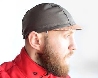Brown kepi cycling cap, Classical 3 panel cap, Short orange brim