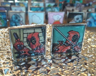 Unique Recycled Comic Book 'Deadpool' Square Comic Cufflinks - Upcycled & Unique Comic Cufflinks